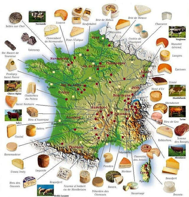 carte de france des fromages -